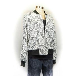 Lace Bomber Jacket by Karen Kane